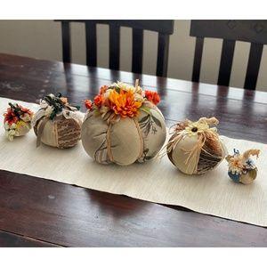 NEW Set of 5 Handmade Ivory Beige Cloth Pumpkins